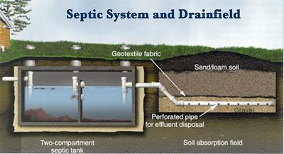 Diagram of how a conventional septic system works